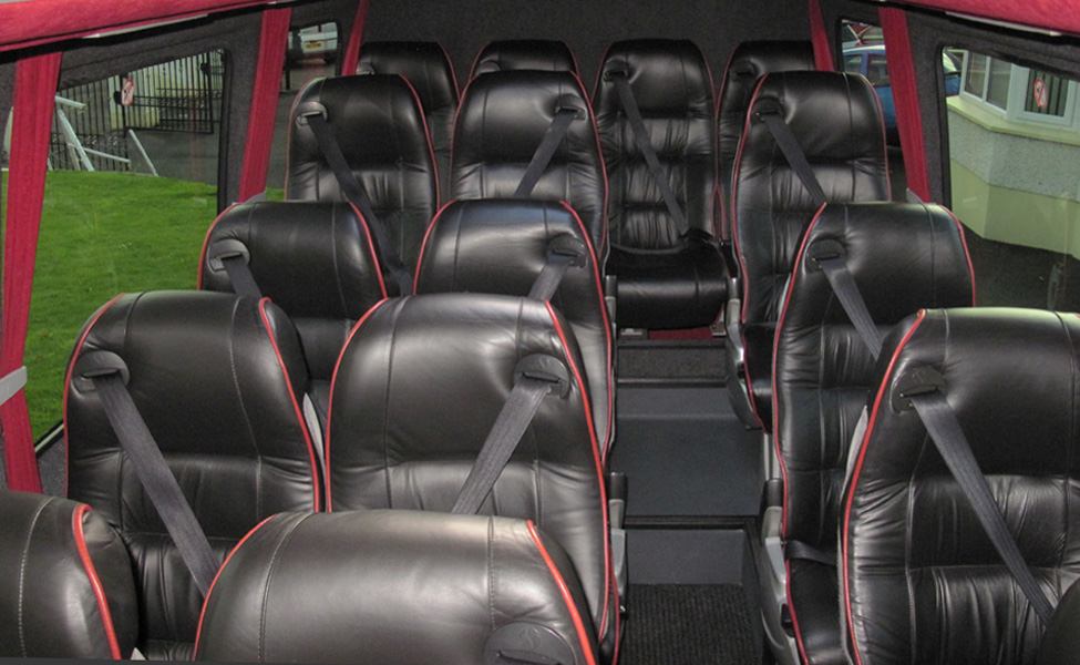 Our 16 seater mini bus from the inside