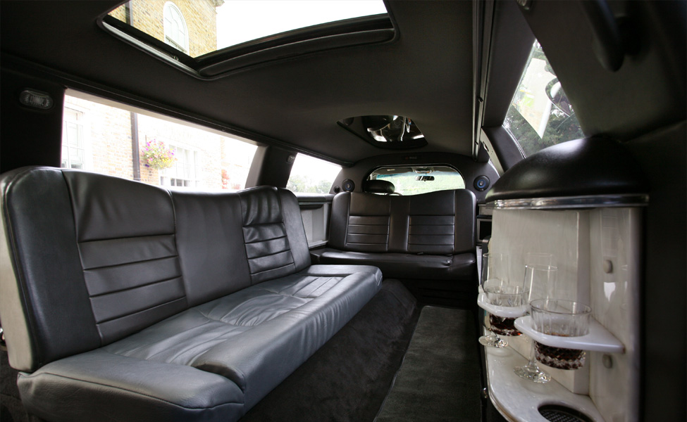 Our Tuxedo stretch limousine from the inside